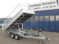 Unsinn Dreiseitenkipper UDK 3542 Alu 4,26x2,04m+Gitteraufsatz +Elektropumpe 3,5t